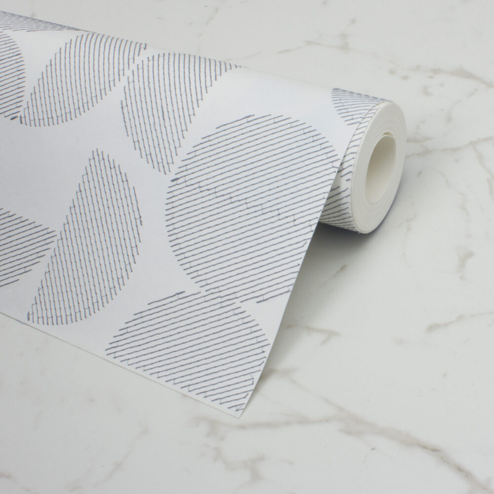 ARC EMBROIDERED WALLPAPER | NAVY