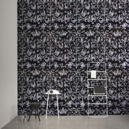AVES EMBROIDERED WALLPAPER | OFF-BLACK
