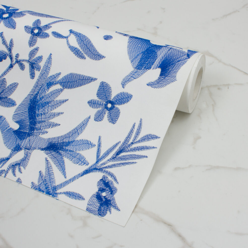 AVES EMBROIDERED WALLPAPER | NAVY