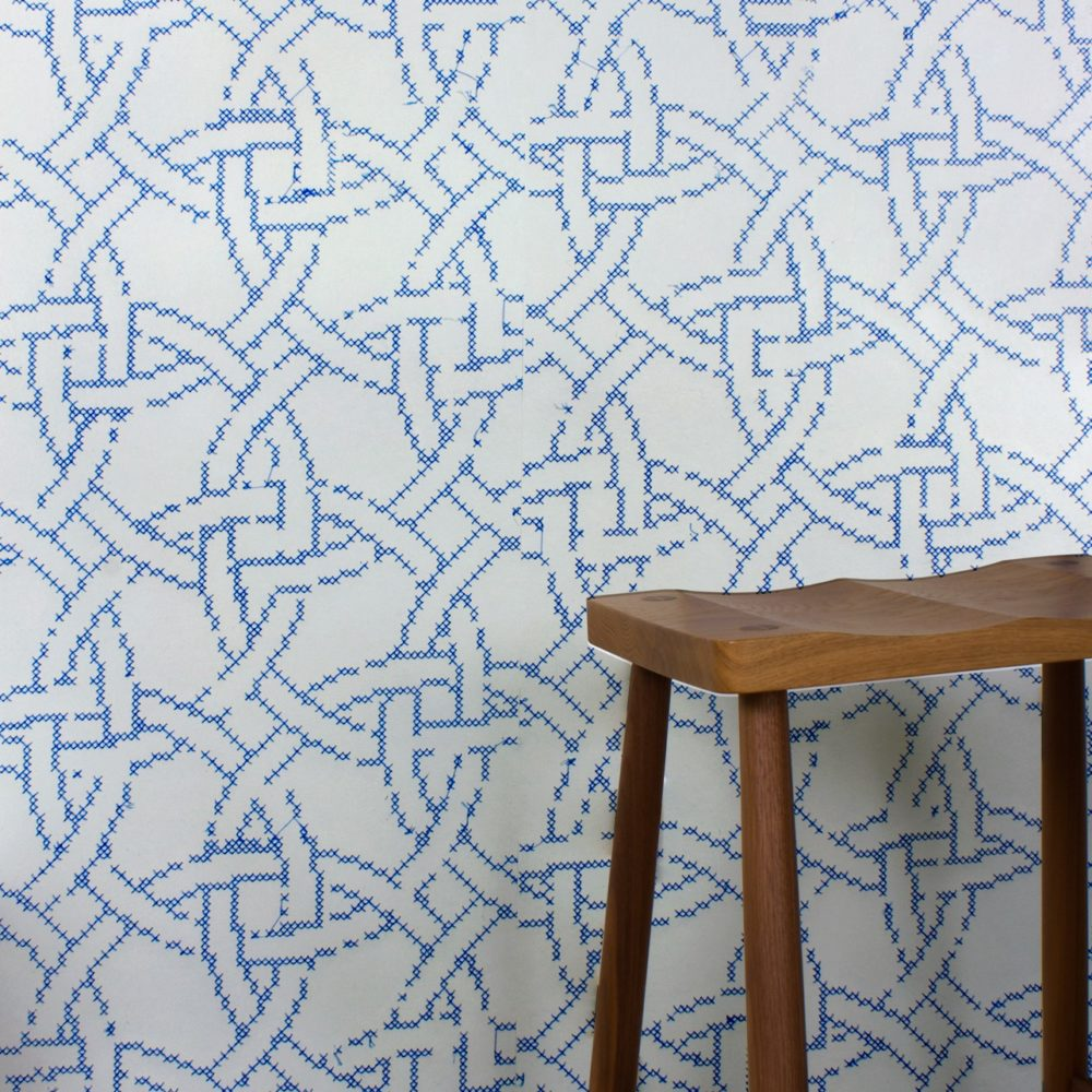 NEW CROSS EMBROIDERED WALLPAPER | GREY