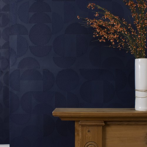 ARC EMBROIDERED WALLPAPER | INDIGO