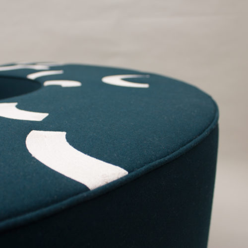CONTOUR EMBROIDERED ARC STOOL  |  CARDINAL