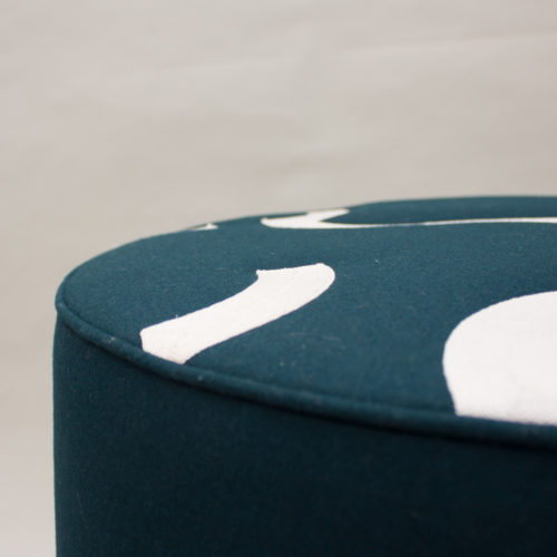 CONTOUR EMBROIDERED ROUND STOOL  |  CARDINAL