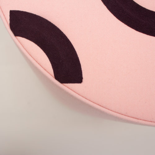 CONTOUR EMBROIDERED ROUND STOOL  |  POMPADOR