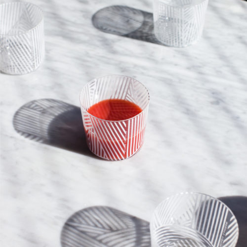 x4 OBLIQUE GLASS TUMBLERS | WHITE